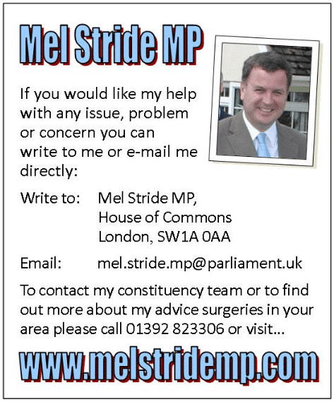 Local MP Mel Stride contact and local surgery information on North Tawton Website
