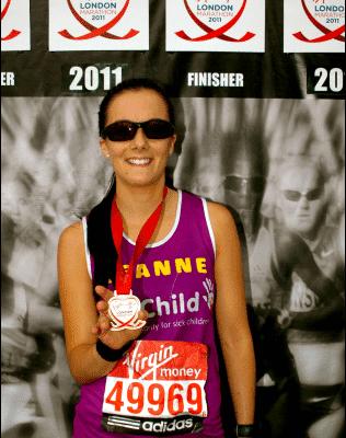 Leanne Rice North Tawton London Marathon 2011 for WellChild