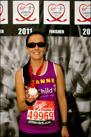 Leanne Rice North Tawton London Marathon 2011 for WellChild