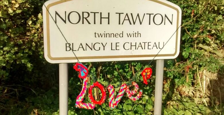 North Tawton Yarn Bombing Love Sign twinned with Blangy Le Chateau